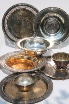 vintage silverplate serving pieces lot, old silver trays & bowls