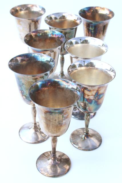 vintage silverplate wine glasses, Sheffield silver goblets set of 8