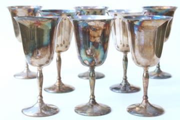 vintage silverplate wine glasses, Sheffield silver goblets set of 8
