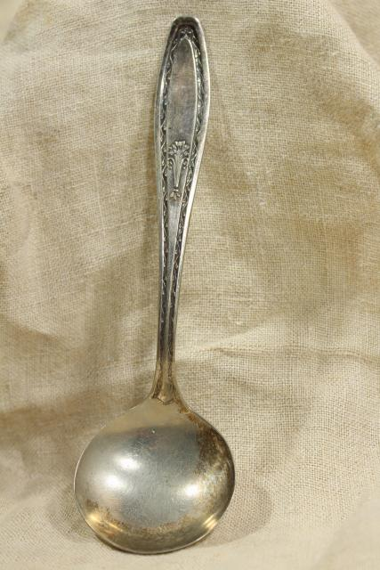 vintage silverware, silver plated ladle lot, gravy & sauce ladles, mayo bowl spoons