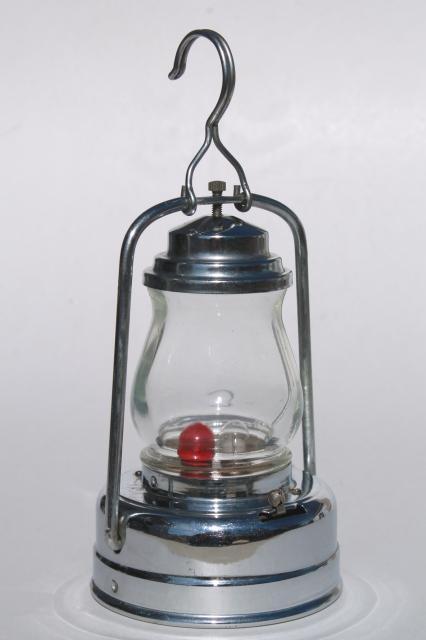 Vintage Skateru0027s Lamp, Little Metal Lantern Battery Light W/ Red U0026 Clear  Light Bulb