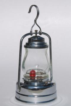 vintage skater's lamp, little metal lantern battery light w/ red & clear light bulb
