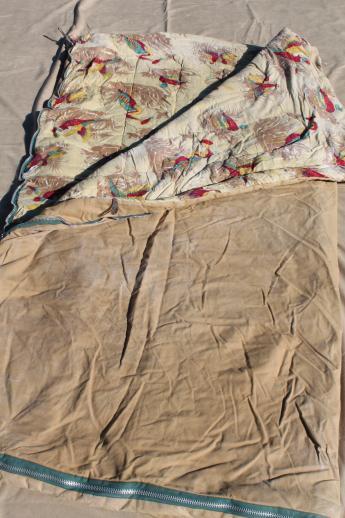 Vintage Sleeping Bag Game Birds Print Cotton Flannel