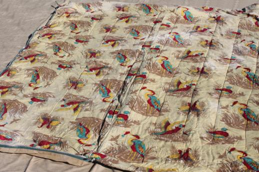 Vintage Sleeping Bag Game Birds Print Cotton Flannel Lined Canvas W Storage