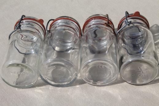 vintage small mason jars, glass kitchen canisters w/ lightning lids storage jar