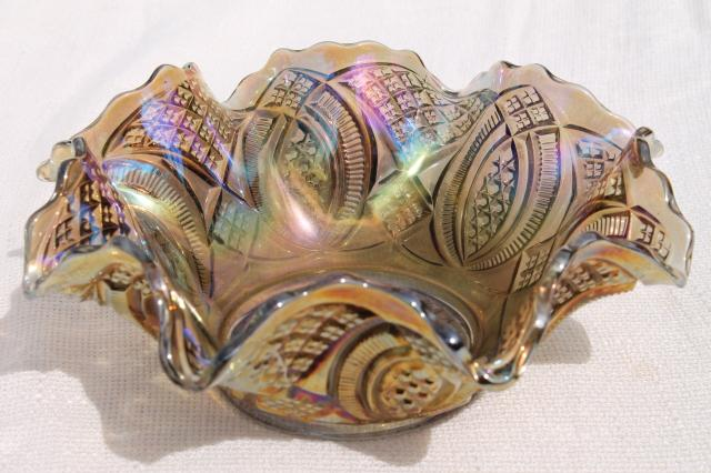 Vintage Smoke Iridescent Carnival Glass Imperial Diamond