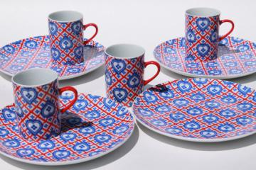 vintage snack set plates & cups w/ retro red white blue hearts & stripes, Taste Setter china