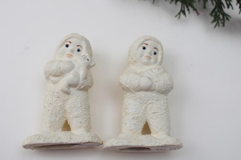 vintage snowbaby figurines w/ original price tags, snowbabies w/ toy teddy bear & doll