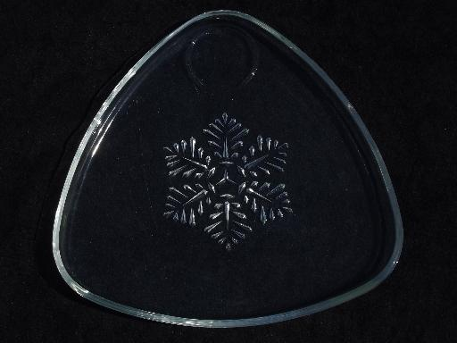 vintage snowflake pattern glass snack sets for Christmas, set for 4