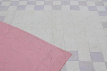 vintage soft colored cotton patchwork quilt, pleasingly faded & primitive