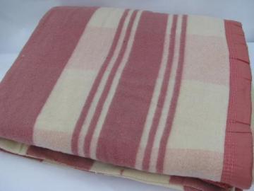 vintage soft cotton camp blanket, rose-pink & cream plaid, label