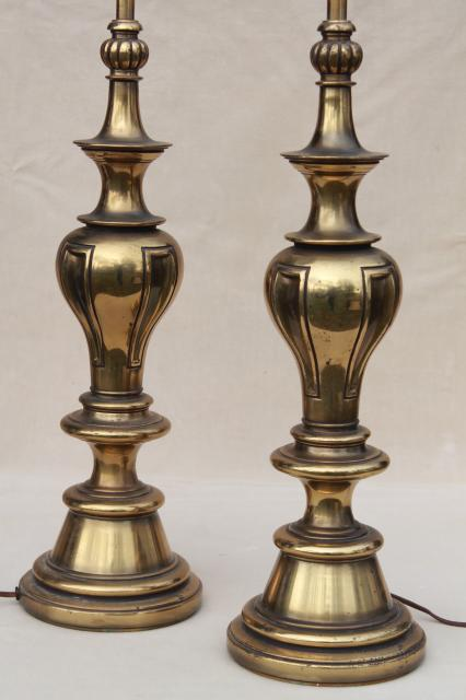 Vintage Solid Brass Stiffel Lamps Pair Of Tall Table Lamps W Three