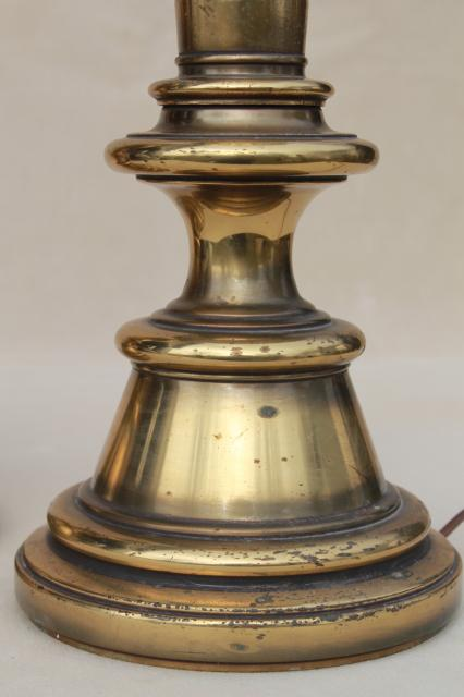 Vintage Solid Brass Stiffel Lamps Pair Of Tall Table