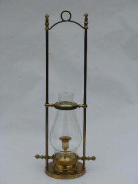 vintage solid brass adjustable ship's table desk candle lamp