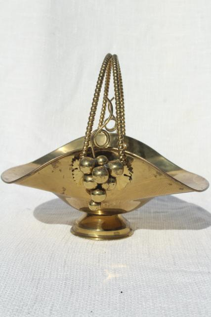 vintage solid brass basket, fruit stand centerpiece for grapes etc.