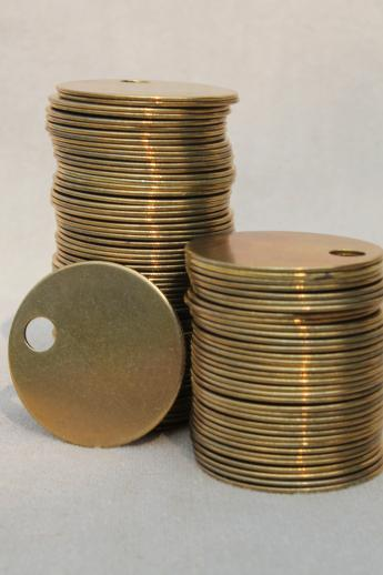 Vintage Solid Brass Blank Tags Plain Blanks For Engraving Or Marking Locker Tag Markers