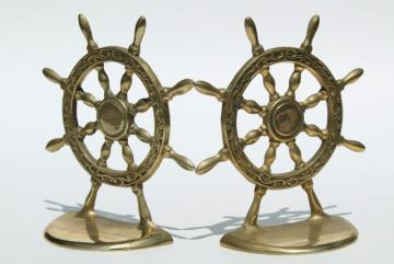 vintage solid brass book ends, nautical marine ships wheel bookends