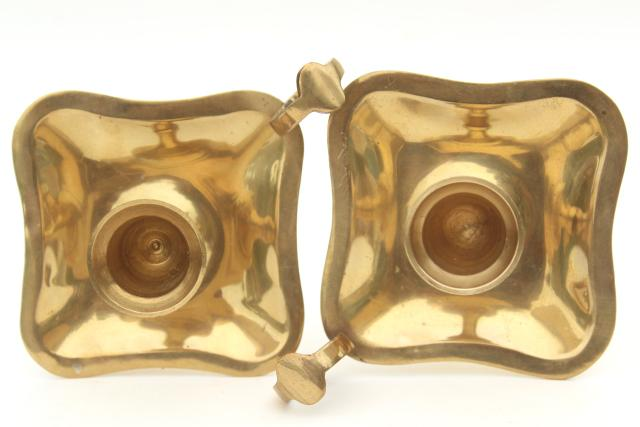 vintage solid brass candle holders, finger ring chamber candlesticks pair