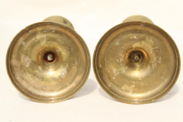vintage solid brass candlesticks, pair barley twist open spiral candle holders