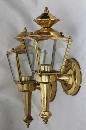Vintage solid brass carriage house lantern wall mount porch or entry way lights Exterior carriage house lights