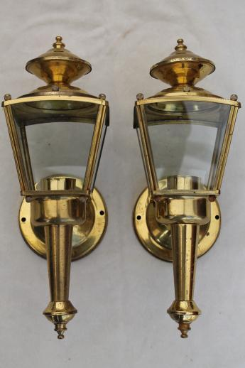 Wall Mounted Carriage Lamps : vintage solid brass carriage house lantern wall mount porch or entry way lights