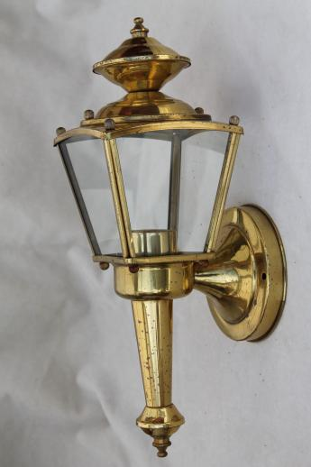 Vintage Solid Brass Carriage House Lantern Wall Mount