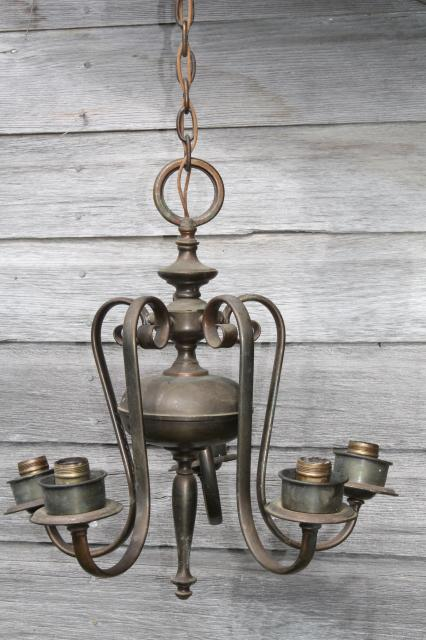 vintage solid brass chandelier w/ tarnished patina, old five lamp hanging  light for restoration - Vintage Solid Brass Chandelier W/ Tarnished Patina, Old Five Lamp