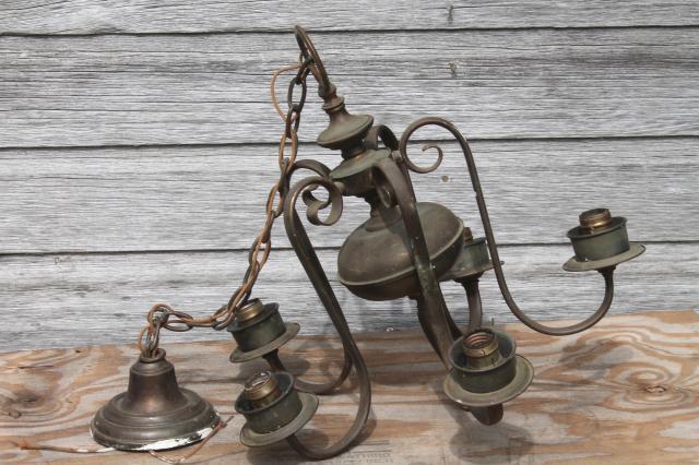 vintage solid brass chandelier w tarnished patina old five lamp – Vintage Brass Chandeliers