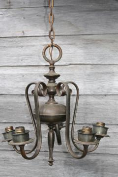 vintage solid brass chandelier w/ tarnished patina, old five lamp hanging light for restoration