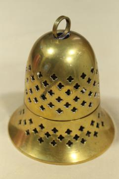 vintage solid brass cloche bell shaped candle holder or incense burner