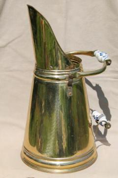 vintage solid brass coal scuttle made in Holland w/ blue & white delft china handles