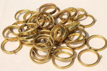 vintage solid brass curtain rings lot, drapery hardware for cafe curtain rods