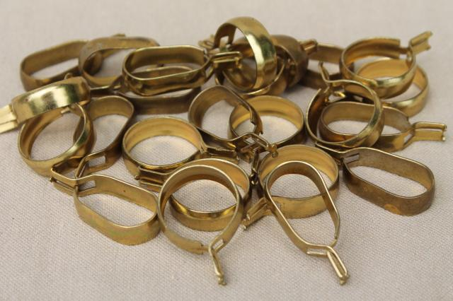 Vintage Solid Brass Curtain Rings Oval Round Clips For Cafe Rods