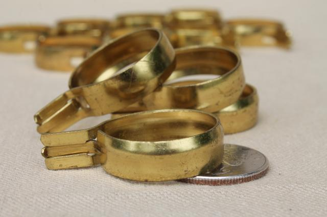 vintage solid brass curtain rings, oval & round curtain clips for cafe curtain rods