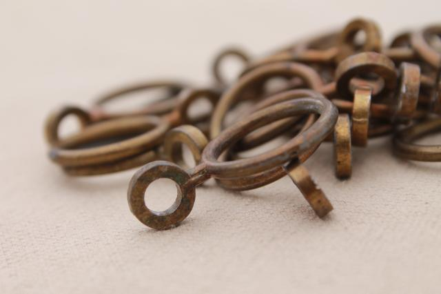 vintage solid brass curtain rings, round ring curtain clips for cafe curtain rods