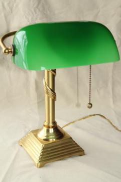 vintage solid brass desk light, banker's lamp w/ emerald green cased glass shade