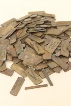 vintage solid brass engraving scribe letters, antique font alphabet & numbers letter tiles