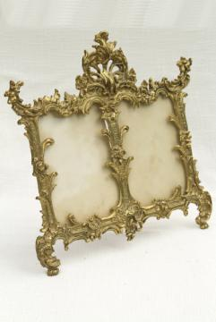 vintage solid brass frame, ornate Victorian picture frame, double photo frame