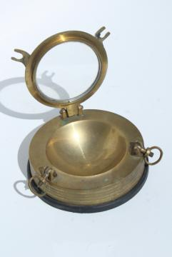vintage solid brass porthole ashtray, nautical yacht club style for boat or beach house