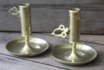 vintage solid brass push up candlesticks, pair of adjustable candle holders for taper candles