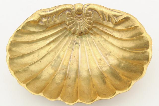 Vintage Solid Br Seashell Scallop Shell Soap Dish Beach House Bath Decor