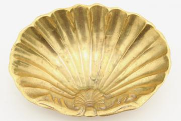 vintage solid brass seashell scallop shell soap dish, beach house bath decor