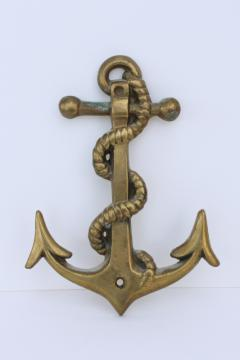 vintage solid brass ship's anchor wall plaque, boating yacht club nautical coastal decor