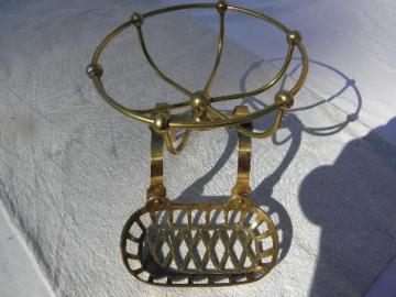 vintage solid brass soap dish, bath tub rack for antique clawfoot bathtub