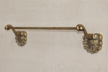 vintage solid brass towel bar w/ scrollwork brackets & ball finials, powder room or bath