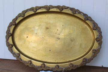 vintage solid brass tray w/ border of winged insects, bees or butterflies
