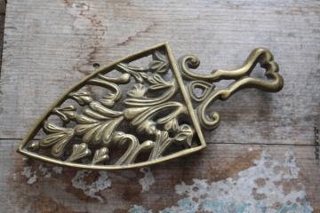 vintage solid brass trivet, hot iron sadiron stand, heart handle trivet wall hanging
