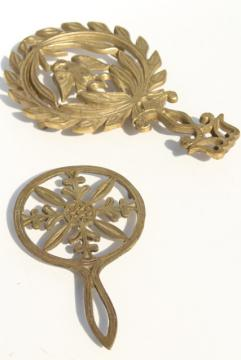 vintage solid brass trivets for colonial style fireplace hearth or country kitchen