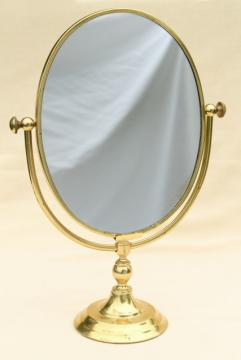 vintage solid brass vanity or shaving mirror, pivot frame on table stand