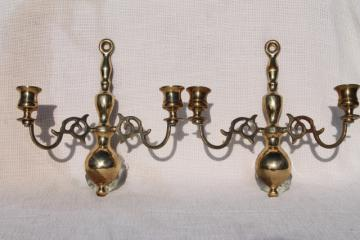 vintage solid brass wall sconces, candle sconce pair made in England
